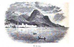 Gravure de Chios en 1876